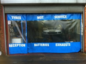 tyre centre curtains